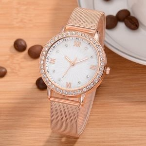 Accessories - Lady's Rhinestone quartz rose gold watch